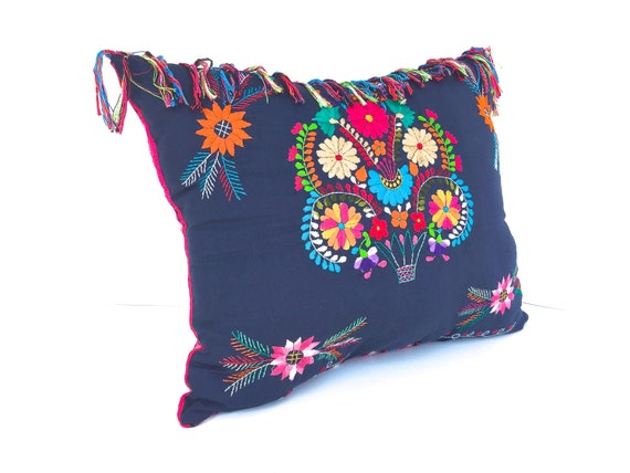 Navy blue embroidered mexican dress pillow x