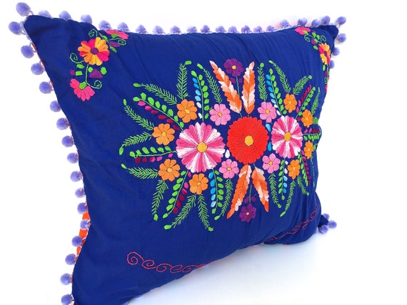 Mexican dress pillow throw royal blue