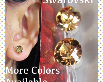 Swarovski November Birthstone Crystal Clip On Earrings |C23s| Topaz Brown Stud Rhinestone Clip Earrings Wedding Clip-ons Bridal Clip Earring