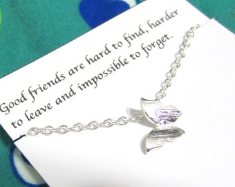 Tiny Silver Butterfly Necklace | Friendship Necklace | Best Friend Necklace |A5| Dainty Necklace | Best Friend Gift | Birthday Gift