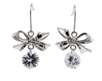 Pendant silver bow crystal earrings