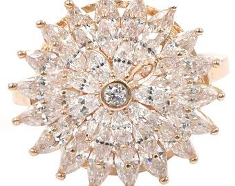 Shining bright sunflower crystal ring