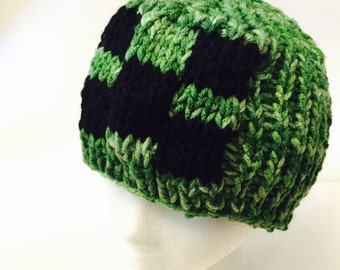 Creeper Beanie Hat Minecraft Inspired, Winter Hat