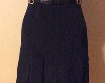 Vintage Celine Navy Blue Pleated Skirt Size 0