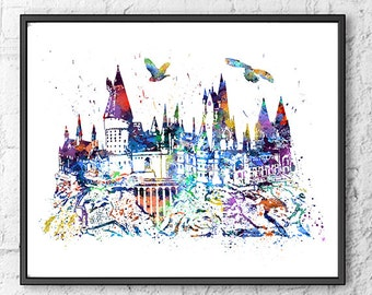 Hogwarts Castle Watercolor Print, Harry Potter Art, Movie Poster, Watercolor Print, Home Decor, Wall Art, Kids Room Decor, Room Decor - 334