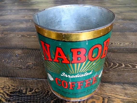 1940s Large Vintage Tin Irradiated Nabob Coffee 5 Lb