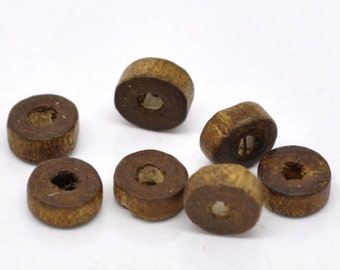 1000 Coffee Rondelle Wood Spacer Beads 8mm