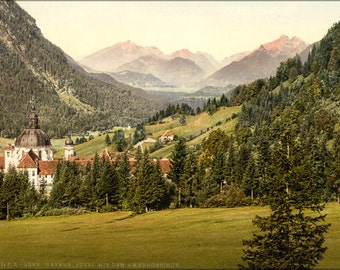 24x36 Poster . Ettal With The Ammergebirge, Upper Bavaria, Germany 1890
