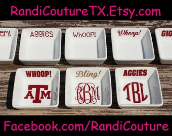 Texas A&M Aggie Ring Dish ; Monogrammed Jewelry Dish