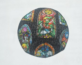 Reversible Kippah Made From Super Mario Bros. and Legend of Zelda Fabric