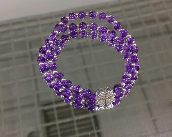 Clear Crystal bracelet Clear bracelet Natural Stone Quartz bracelet Sterling Silver Bridal bracelet April Birthstone Romantic Gift Wife