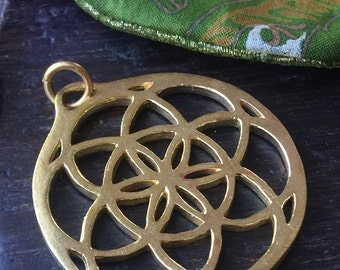 Seed of Life Flower of Life Large Gold Brass Pendant Sacred Geometry 38mm x 35mm Metal Focal