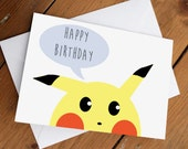 PIKACHU CARD // happy birthday, cute, pokemon, love, anniversary, valentines day, celebration, friends, friendship