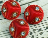 Three Antique Red with Rhinestones Buttons Sewing, Crafting, Scrapbooking Supply, Mixed Media, Collage, Beautiful!!!  #523 ok
