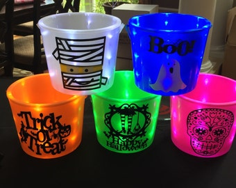 Halloween light up buckets + personalized + monogram + glow in the dark + lit buckets + trick or treating + flashlight bucket + lit basket