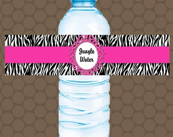 Zebra Hot Pink Water Bottle Labels Wrappers Stickers Printable Uprint Digital DIY Instant Download