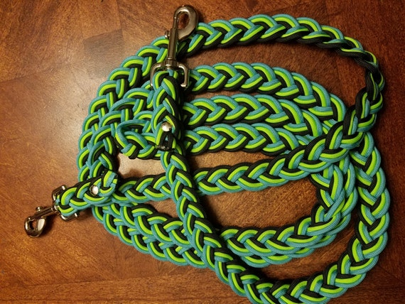 Horse Tack: Adjustable Paracord  Reins; 7-9 feet size barrel reins 9 strand flat braid 550 parcord with trigger snaps