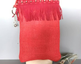 Case cover burlap for glasses or red cell phone made hands