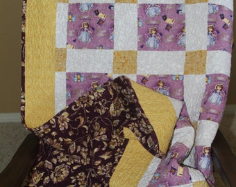 Throw quilt, girls blanket, nursery decor, lap throw, home and living, bedroom accents/ 49 x 65 preshrunk
