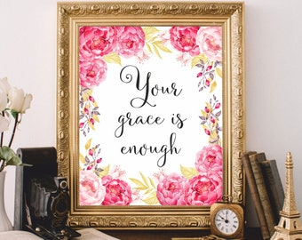 Bible verse art Scripture art printable Christian wall art Bible verse print Your grace is enough Watercolor art print Bible verse wall art