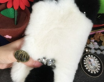 New Bling Fashion Lovely Luxury White Fluffy Fur Furry Cat Ear Tail Style Charms Rhinestones Diamonds Gems Hard Cover Case for Mobile Phones