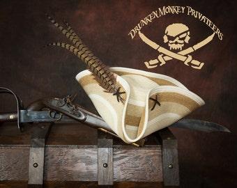 Striped Pirate Tricorn Hat, Pirate Hat, Straw Pirate Tricorn