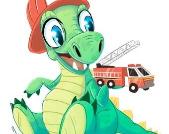 Firefighter Dinosaur Cute A4 Print