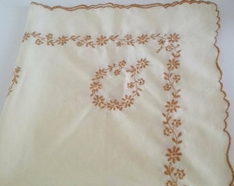 SALE small lemon yellow vintage tablecloth with brown stitching, yellow tablelinen, square table cover, brown daisy on lemon fabric