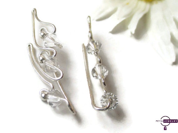 sterling silver ear climbers swarovski crystal ear climbers. Black Bedroom Furniture Sets. Home Design Ideas