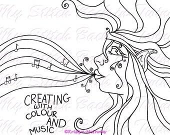 Digital stamp colouring image - Rainbow Music . jpeg / png