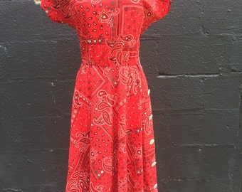 Vintage western bandanna dress/cowgirl/pinup/Large