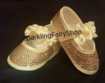 handmade baby bling christening shoes