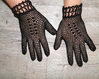 Black crochet vintage gloves