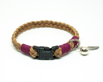 Braided Tan Suede Leather Lace Cat Collar