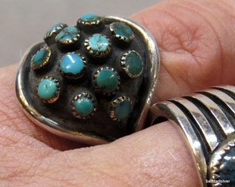 """Striking, Rare, Old Pawn, Turquoise and Silver, """"Turtle Ring"""""""