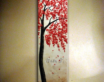 "60"" ORIGINAL Modern Impasto Acrylic Painting.Red Blossom Tree Painting on canvas from  Nata S...Large Artwork .......MADE to ORDER"