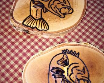 Wood Burned FISH Coasters