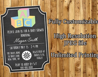 ABC Blocks Baby Shower Invitation / Printable Baby Shower Invitation / Printable Chalkboard Baby Shower Invitation