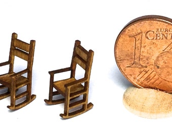 Rocking chair in wood, 1/144 scale