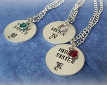 3 Sisters matching sisters necklace, 3 Sisters monogram necklace set, Three sisters 4 sisters jewelry, Starts set of 2 & you pick charm!