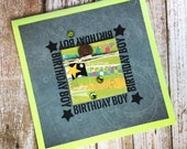 Stamped card, Birthday Boy, happy birthday, charcoal gray, lime green, yellow teal, green sequins, robot brad, birthday card, greeting card