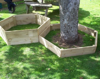 1 x 15cm high Hexagonal wood raised bed,Tanalised wooden garden / tree border