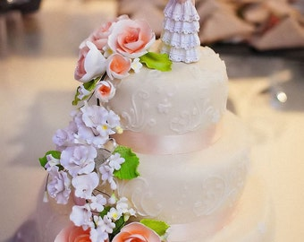 wedding cake topper - branch of roses and lilac, flower cake topper