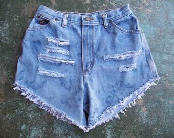 "Vintage Wrangler Cut Offs-Wrangler Shorts-Distressed Denim Shorts-Daisy Dukes-Bleached-Jean Cut Offs -Size 32"" Waist"