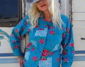 Women's Wrangler Blouse-Vintage Wrangler-Asymmetric- Size Med-Large