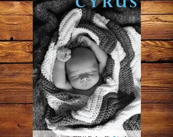 Baby Photo Birth Announcement Modern