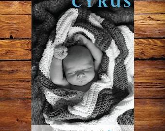 Baby Photo Birth Announcement Modern3- boy or girl