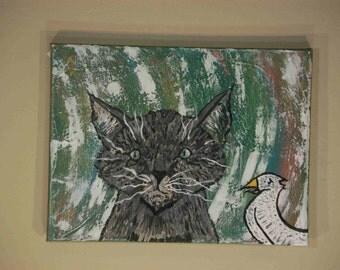 Grey Kitty & Bird