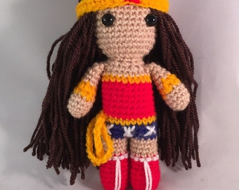 Wonder Woman Amigurumi Figure Doll with tiara and lasso of truth