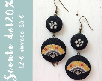 Japanese fabric fan drop earrings